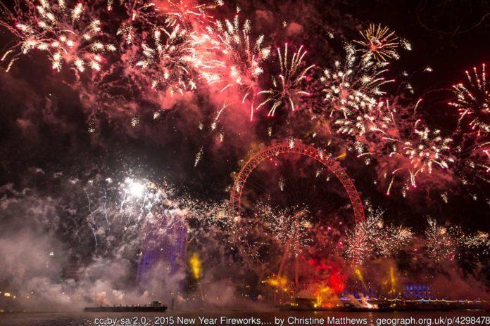 Feuerwerk London Eye Silvester