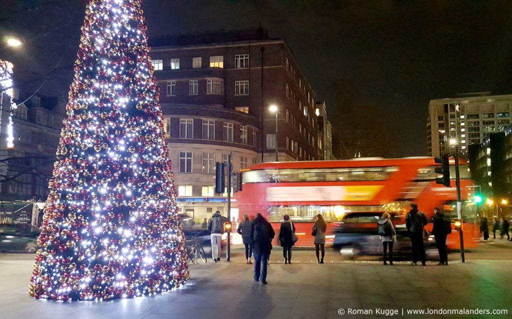 Weihnachten London Bus Öffentliche Verkehrsmittel