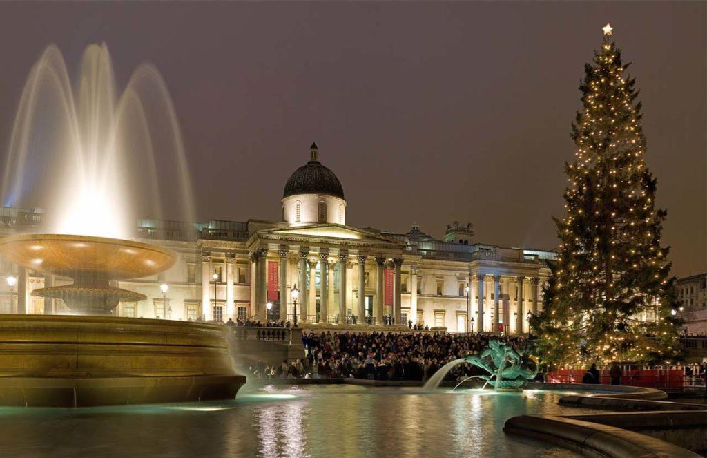 Weihnachtssingen Weihnachtsbaum Trafalgar Square London