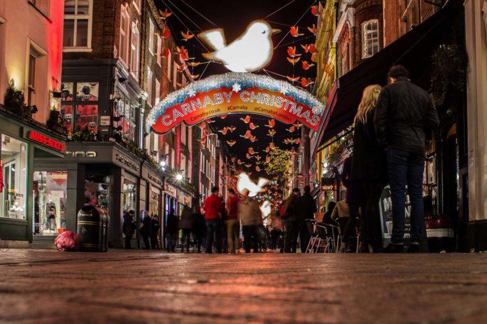 Carnaby Street London Weihnachtsbeleuchtungen