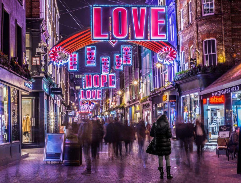 Carnaby Street Weihnachtsbeleuchtungen London