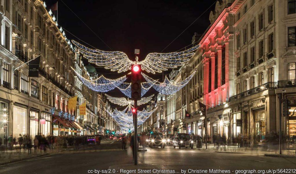 Regent Street London Weihnachtsbeleuchtungen