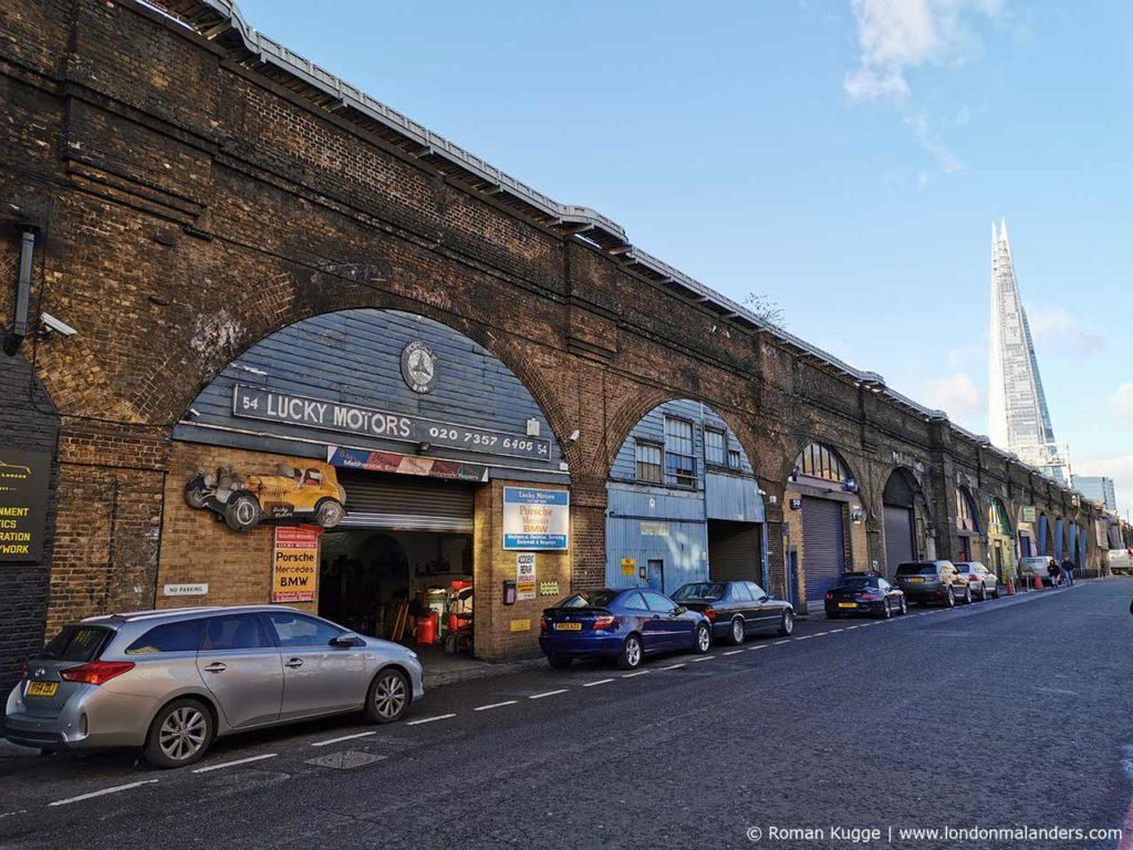 The Shrad, gesehen vom Maltby Street Market aus