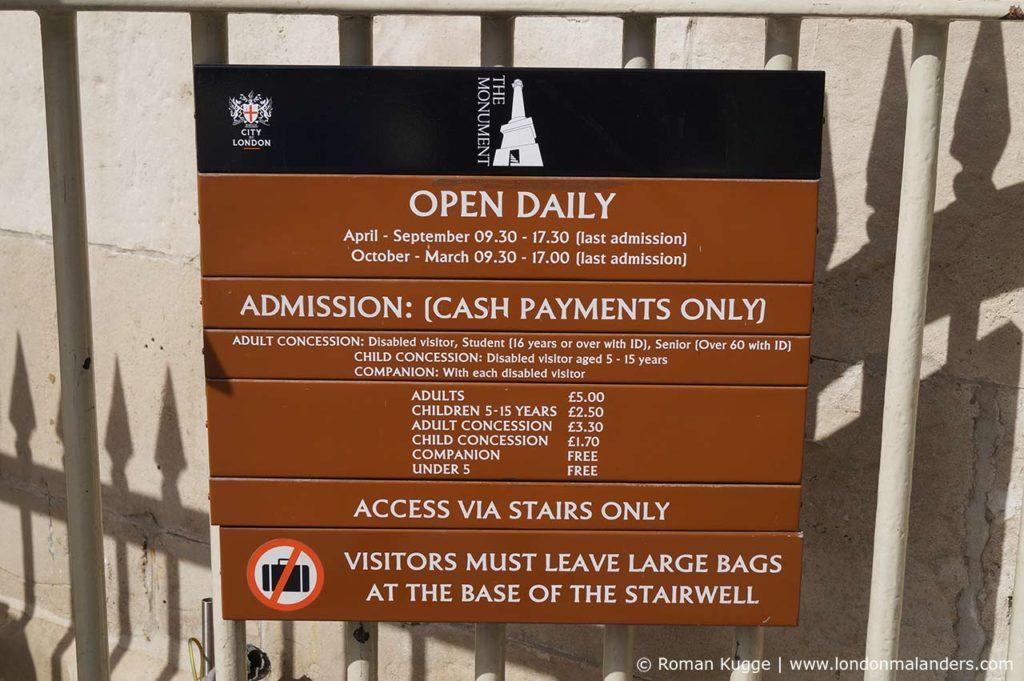 The Monument London Preise und Öffnungszeiten